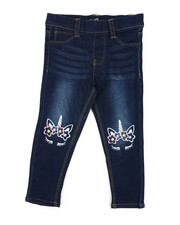Bottoms - Pull-On Denim Jeggings W/ Knee Embroidery (2T-4T)-2443162