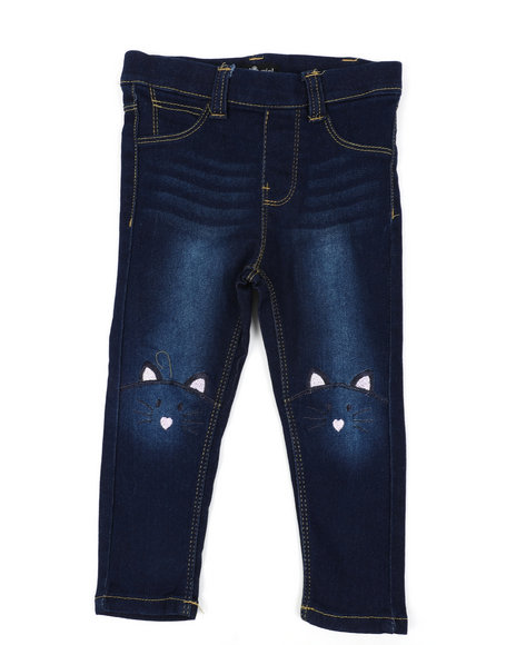 Delia's Girl - Pull-On Denim Jeggings W/ Knee Embroidery (2T-4T)