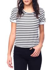 Tees - Stripe Short Sleeve Tab Crew Neck Top-2447698