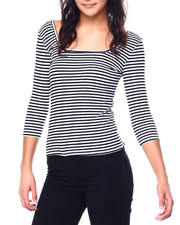 Fashion Lab - Rib Double Square Neck 3/4 Sleeve Top-2447789