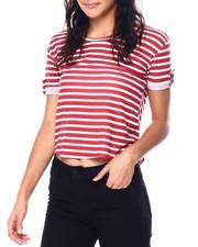 Tops - Stripe Short Sleeve Tab Crew Neck Top-2447694