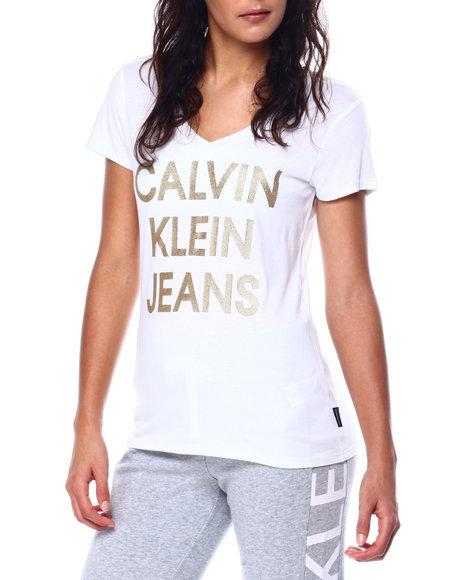 Calvin Klein - HD Flitter Print Stacked CKJ Logo S/S V-Neck Tee