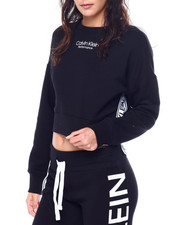 Athleisure for Women - Vintage Logo Tape L/S Crew NK Crop Pullover-2449840