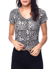Tops - Animal Print S/S V-Neck Side/Front Drawstring Detail Top-2447754