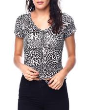 Fashion Lab - Animal Print S/S V-Neck Side/Front Drawstring Detail Top-2447754