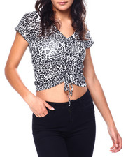 Tops - Animal Print S/S V-Neck Side/Front Drawstring Detail Top-2447758