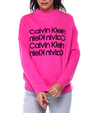 Calvin Klein - Flocked Repeat Logo Drop Shoulder Mock NK Pullover-2449865