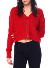 Sweaters - V-Neck Ribbed Button Down Cardigan-2447866