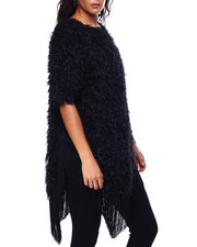 Womens-Winter - S/S Fuzzy Fringe Trim Oversize Top-2448169
