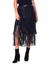 Bottoms - Faux Leather Fringe Skirt-2448159