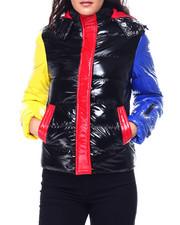 Womens-Winter - Nylon Colorblock Puffer Jacket w/ Hood-2448019