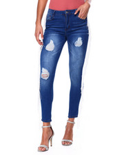 Fashion Lab - Fringe Side Med Rise Jean-2447916