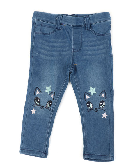 Delia's Girl - Pull- On Denim Jeggings W/ Knee Embroidery (2T-4T)