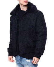 Mens-Winter - Faux Fur Floral Jacquard Bomber Jacket-2450393