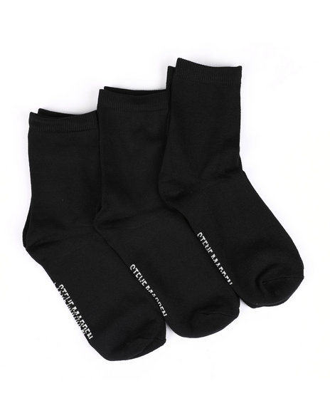 Fashion Lab - 3 Pk Super Soft Marled Crew Socks