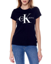Women - Rubber/Glitter Print Monogram Logo S/S Scoop Neck Iconic Tee-2450674