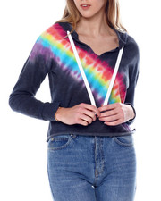 Women - Placement Tie Dye Pullover Notch Nk Hoodie-2451214