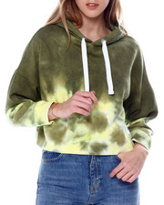 Women - High Tide Tie Dye L/S Drop Shoulder Crop Pullover Hoodie-2450737