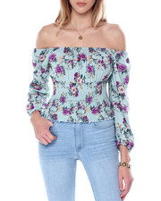 Almost Famous - Square Nk Smocked Bottom Peasant Top-2451204