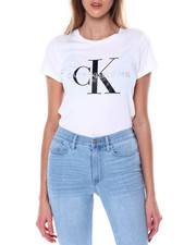 Women - Rubber/Glitter Print Monogram Logo S/S Scoop Neck Iconic Tee-2450665