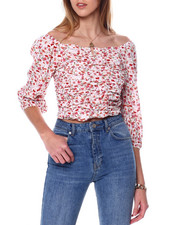 Almost Famous - Ruched Peasant Top W/V Bar-2451199