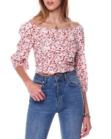 Almost Famous - Ruched Peasant Top W/V Bar
