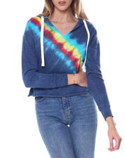 Women - Placement Tie Dye Pullover Notch Nk Hoodie-2451209