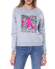 Women - Rubber/Flocking Zebra Print Boxed Monogram Logo L/S Crew Neck Pullover-2450727