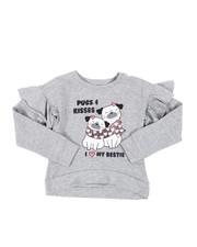 Tops - Ruffle Sleeve HI-Low Fleece Sweatshirt (7-16)-2451354