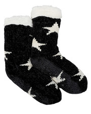 DRJ SOCK SHOP - Chenille Lounge Faux Fur Lined Socks W/ Stars-2444033