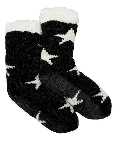 Fashion Lab - Chenille Lounge Faux Fur Lined Socks W/ Stars