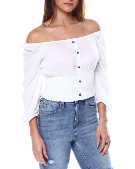 Almost Famous - 3/4 Slv Faux Button Peasant Top W/Smocked Band