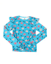 Girls - Ruffle Sleeve Tie Front Yummy Top (7-16)-2451095