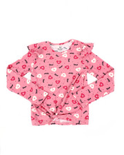 Girls - Ruffle Sleeve Tie Front Yummy Top (7-16)-2451284