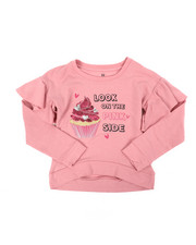 Girls - Ruffle Sleeve HI-Low Fleece Sweatshirt (7-16)-2451346