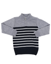 Sweatshirts & Sweaters - Quarter Color Block Striped Marled Sweater (4-7)-2451679
