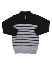 Sweatshirts & Sweaters - Quarter Color Block Striped Marled Sweater (4-7)-2451659