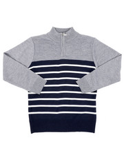 Sweatshirts & Sweaters - Quarter Color Blocked Striped Marled Sweater (8-18)-2451684
