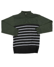 Sweatshirts & Sweaters - Quarter Color Blocked Striped Marled Sweater (8-18)-2451674