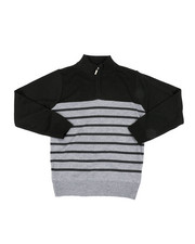 Sweatshirts & Sweaters - Quarter Color Blocked Striped Marled Sweater (8-18)-2451664