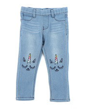 Girls - Pull-On Denim Jeggings W/ Knee Embroidery (2T-4T)-2451693