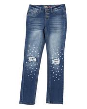 Bottoms - Pearl Heart Stud Skinny Jeans (7-14)-2453024