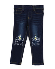 Girls - Pull-On Denim Jeggings W/ Knee Embroidery (2T-4T)-2451689