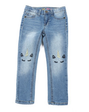 Girls - Lurex Unicorn Skinny Jeans (4-6X)-2453015