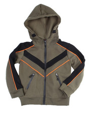 Outerwear - Color Blocked Moto Fleece Hood Zip W/Contrast (4-7)-2454943