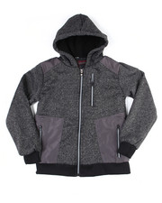 Outerwear - Sherpa Lined Blocked Marled Fleece Hoodzip W/Color Blocked Panels (8-18)-2455042