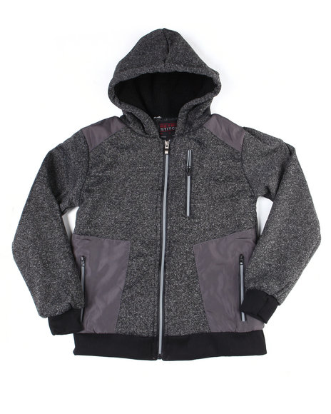Arcade Styles - Sherpa Lined Blocked Marled Fleece Hoodzip W/Color Blocked Panels (8-18)