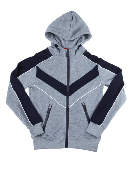 Arcade Styles - Color Blocked Moto Fleece Hood Zip W/Contrast (8-18)