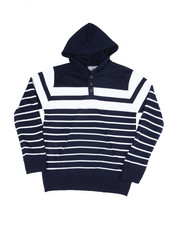 Sweatshirts & Sweaters - Striped Pullover Hooded Henley Sweater (8-18)-2454991