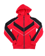 Outerwear - Color Blocked Moto Fleece Hood Zip W/Contrast (8-18)-2454918